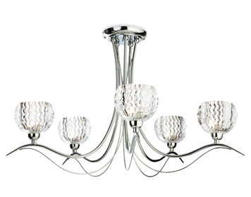 Firstlight Blanche 5 Light Semi-Flush Ceiling Light, Chrome Finish With Moulded Clear Glass - 8620CH