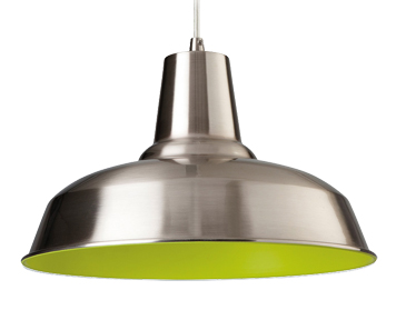 Firstlight Smart 1 Light Pendant, Brushed Steel Finish With Green Inside - 8623BSGN