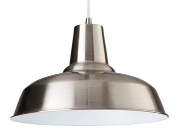 Firstlight Smart 1 Light Pendant, Brushed Steel Finish With White Inside - 8623BSWH