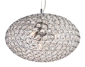 Firstlight Oval 4 Light Pendant, Chrome Finish With Clear Acrylic Crystals - 8625CH