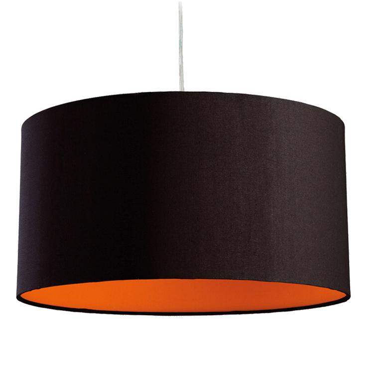 Fabric pendant lights from easy lighting firstlight zeta ceiling pendant light black with orange inside 8630bkor mozeypictures Choice Image