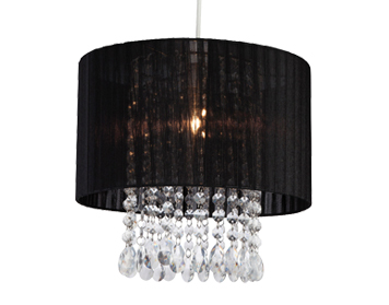 Firstlight Organza Non-Electric Pendant, Black Shade With Clear Acrylic - 8634BK