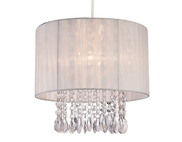 Firstlight Organza Non-Electric Pendant, White Shade With Clear Acrylic - 8634WH