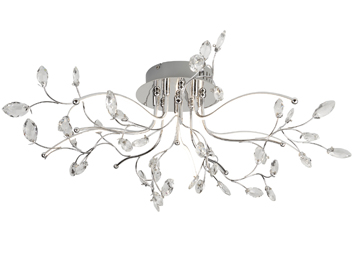 Searchlight Willow 5 Light LED Ceiling Light, Chrome Finish With Glass Detail Trim - 8635-5CC