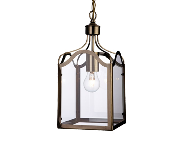Firstlight Monarch Lantern, Antique Brass Finish With Clear Glass - 8637AB
