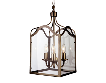 Firstlight Monarch 3 Light Lantern, Antique Brass Finish With Clear Glass - 8638AB
