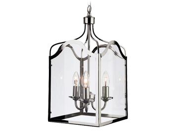 Firstlight Monarch 3 Light Lantern, Chrome Finish With Clear Glass - 8638CH