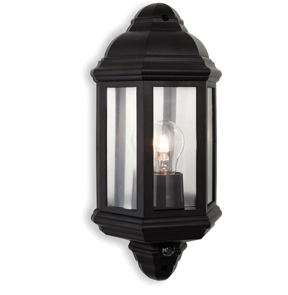 Lanark Outdoor Wall Light With Pir In Black : Firstlight Park IP44 Outdoor PIR Sensor Wall Light, Black Polycarbonate - 8656BK from Easy ...