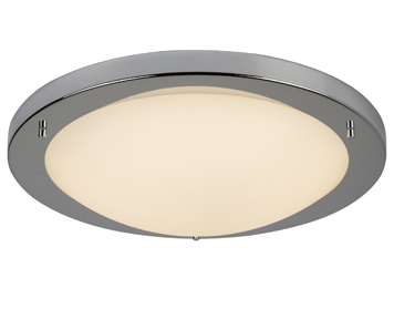 Searchlight Flush LED Ceiling Light Chrome Finish With Opal Glass