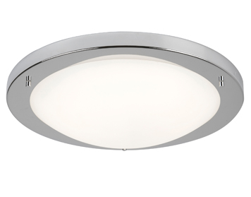 Searchlight Flush LED Ceiling Light, Satin Silver Finish With Opal Glass - 8702SS