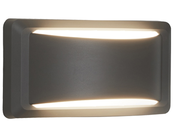 Searchlight 1 Light Outdoor LED Crescent Wall light, Dark Grey With Opal Polycarbonate Diffuser - 8731GY