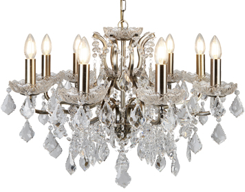 Searchlight Paris 8 Light Chandelier, Antique Brass Finish With Clear Crystal Drops & Trim - 8738-8AB