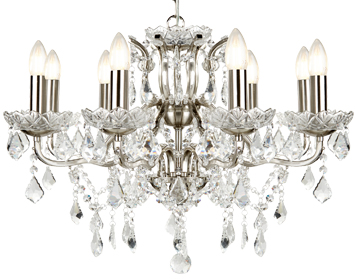 Searchlight Paris 8 Light Chandelier, Satin Silver Finish With Clear Crystal Drops & Trim - 8738-8SS