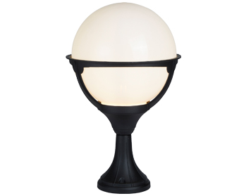 Searchlight Orb 1 Light Outdoor Pedestal Light, Black Finish With Round Opal Shade - 8740