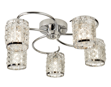 Searchlight Royal 5 Light Flush Ceiling Light, Chrome Finish With Crystal Glass - 8785-5CC