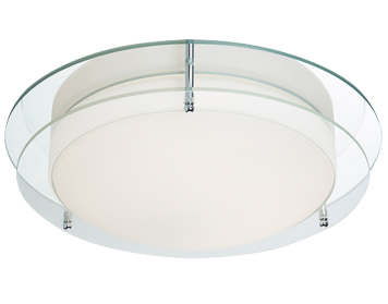 Searchlight Flush Bathroom LED Ceiling Light, Chrome Finish With Opal Glass & Mirrored Backplate - 8803-36CC