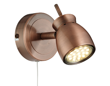 Searchlight Jupiter 1 Light Switched Wall Spotlight, Antique Copper Finish - 8811CU