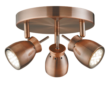 Searchlight Jupiter 3 Light Ceiling Spotlight, Antique Copper Finish - 8813CU