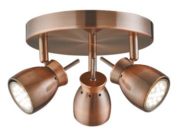 Searchlight Jupiter 3 Light Ceiling Spotlight Antique Copper