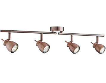 Searchlight Jupiter 4 Light Adjustable Bar Spotlight, Antique Copper Finish - 8814CU
