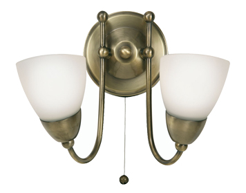 Double wall lights from easy lighting oaks lighting altair twin wall light antique brass finish 88622 ab aloadofball Gallery