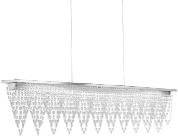 Searchlight Drape LED Bar Ceiling Light (1050mm), Chrome Finish With Crystal Waterfall Dressing - 8868CC