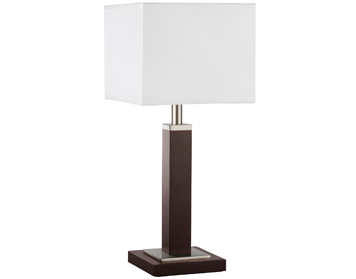 Searchlight Waverley 1 Light Table Lamp, Brown Wood With Satin Silver Trim & White Shade - 8877BR