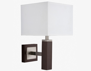 Searchlight Waverly 1 Light Wall Light, Brown Wood With Satin Silver Trim & White Shade - 8878BR