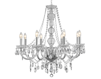 Searchlight Marie Therese 8 Light Chandelier, Chrome Finish With Acrylic Detail & Droplets - 8888-8CL