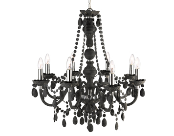 Searchlight Marie Therese 8 Light Chandelier, Grey Finish With Acrylic Detail & Droplets - 8888-8GY