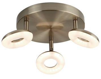 Searchlight Donut 3 Light LED Spot Light, Antique Brass Finish - 8903AB