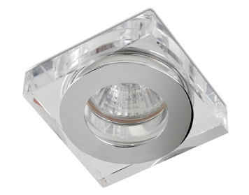 Leds C4 Eis Square 80 12V Recessed Ceiling Downlight, Chrome Finish With Transparent Glass Diffuser - 90-1690-21-37