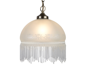 Searchlight Viginia 1 Light Ceiling Pendant Light, Antique Brass Finish With Acid Etched Glass Shade & Glass Fringe- 900-10AC