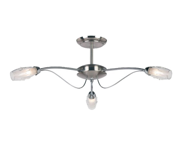 Endon Mercury 3 Light Semi-Flush Ceiling Light, Satin Chrome Finish With Clear & Frosted Glass - 9009-3SC