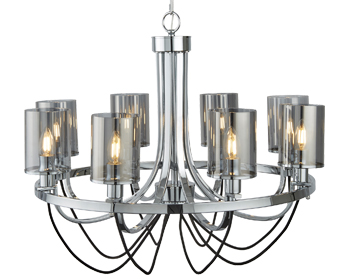 Searchlight Catalina 8 Light Ceiling Light, Chrome Finish With Smoked Glass Shades - 9048-8CC