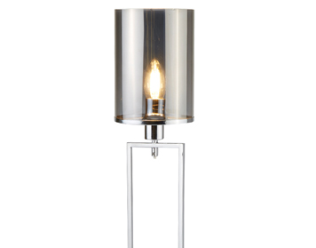 Searchlight Catalina 1 Light Floor Lamp, Chrome Finish With Smoked Glass Shade - 9053CC