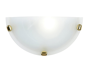 Endon Athena Wall Light, Alabaster Glass & Brass Finish - 906-WB-WH