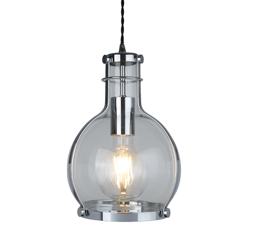 Glass and acrylic pendant lights from easy lighting searchlight roxbury 1 light pendant ceiling light chrome finish with metal framed round glass shade aloadofball Image collections