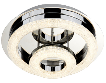 Searchlight Polo 2 Ring LED Flush Ceiling Light, Chrome Finish With Clear Acrylic - 9109-28CC