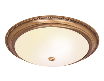 Endon Atlas 2 Light Flush Ceiling Light, Antique Brass Finish With Frosted Glass - 91121