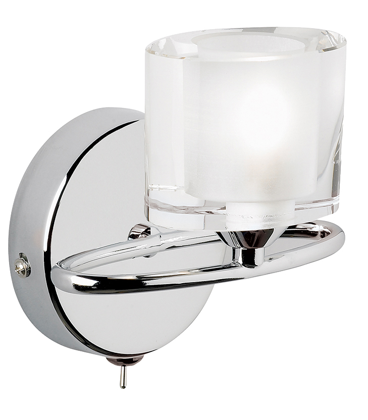 Endon Sonata Single Wall Light And Crystal Shade, Polished Chrome - 91181 from Easy Lighting