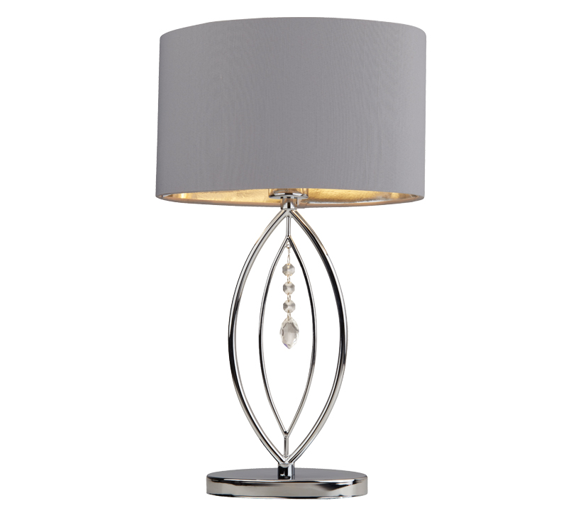 Searchlight Crown Table Lamp, Chrome Finish With Grey Shade