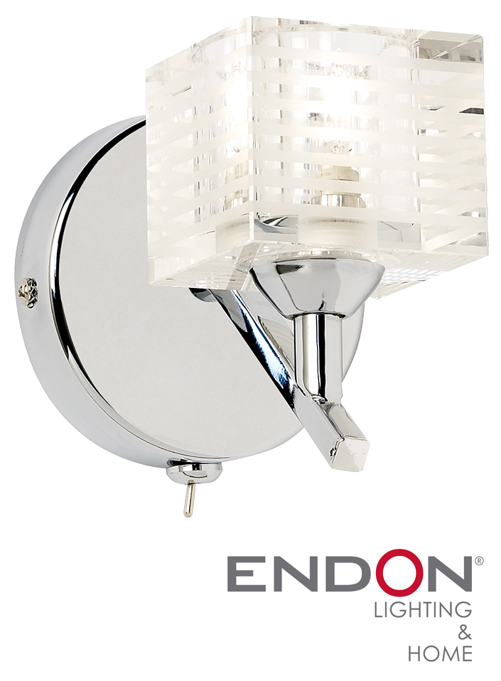 ENDON SWITCHED SINGLE WALL LIGHT CRYSTAL GLASS, POLISHED CHROME - 91391 from Easy Lighting