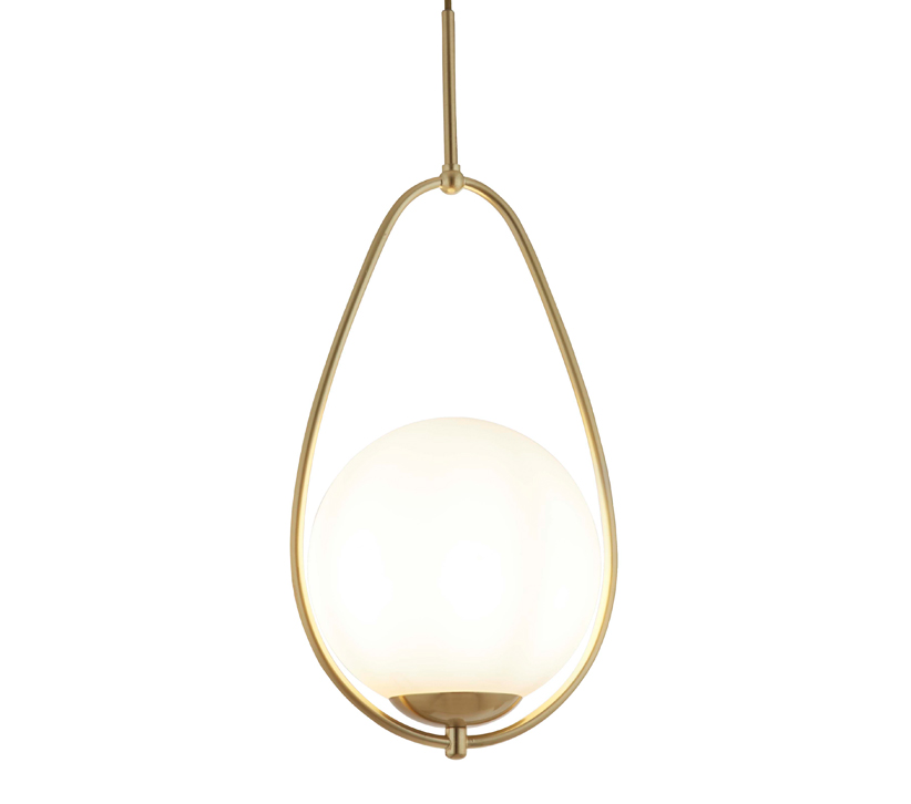 Searchlight Avalon 1 Light Ball Pendant Gold Finish With Opal Glass 9171 1go From Easy Lighting