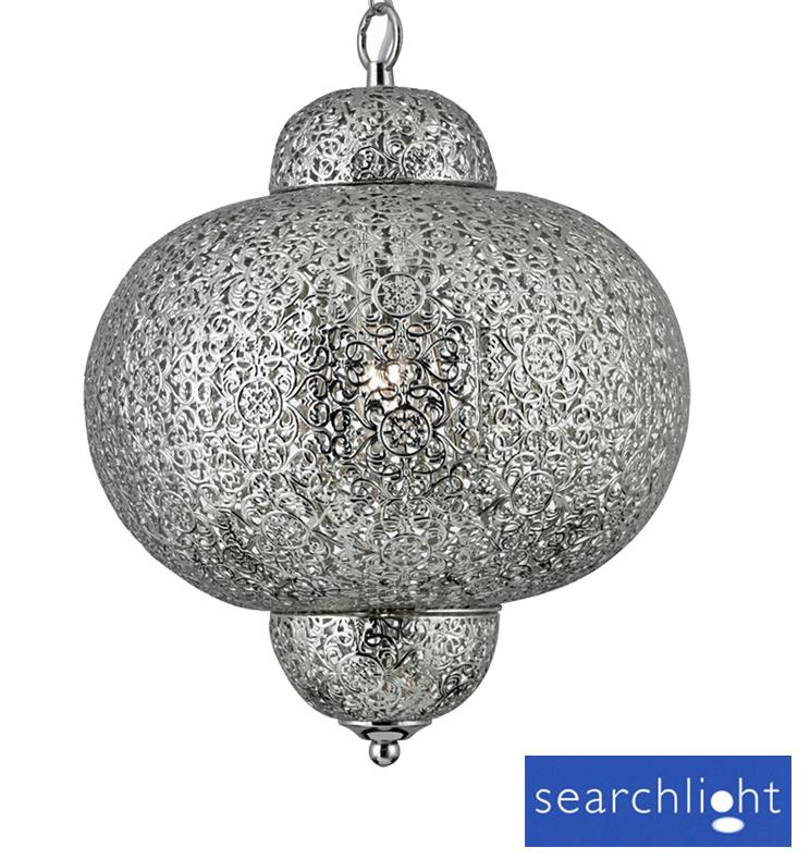 Searchlight Moroccan 1 Light Metal Pendant Ceiling Fixture