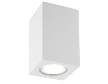 Searchlight Gypsum 1 Light Rectangular Flush Ceiling Light, White Plaster Finish - 9262