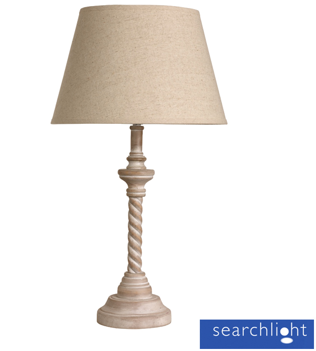 searchlight table lamp with twisted base washed wood cream 9331cr from easy lighting. Black Bedroom Furniture Sets. Home Design Ideas