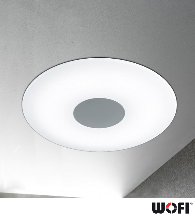 wofi sila led 1 light 45cm diameter dimmable remote control flush ceiling light matt nickel. Black Bedroom Furniture Sets. Home Design Ideas