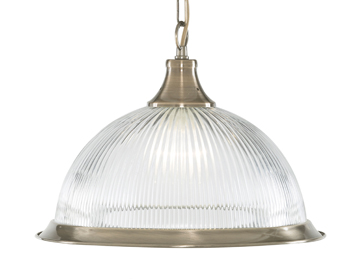 Searchlight American Diner 1 Light Ceiling Pendant Light, Antique Brass Finish With Opaque Ribbed Glass Shade - 9369