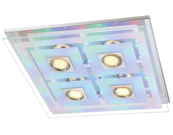 Action Zoe 4 Light LED Remote Control/Switched Square RGB Ceiling Light, Chrome - 940605010000